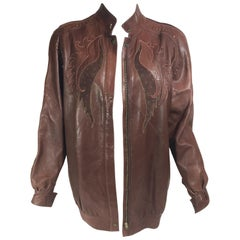 Roberto Cavalli Brown Leather Jacket