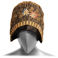 Silk and Gold Thread Embroidered Cloche Hat, 1920s