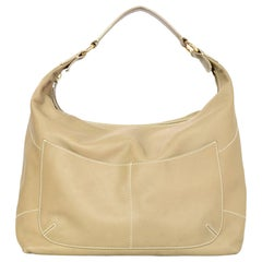 Loro Piana Beige Leather Hobo Bag