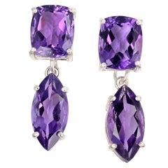 15 Carats Amethyst Sterling Silver Dangle Stud Earrings