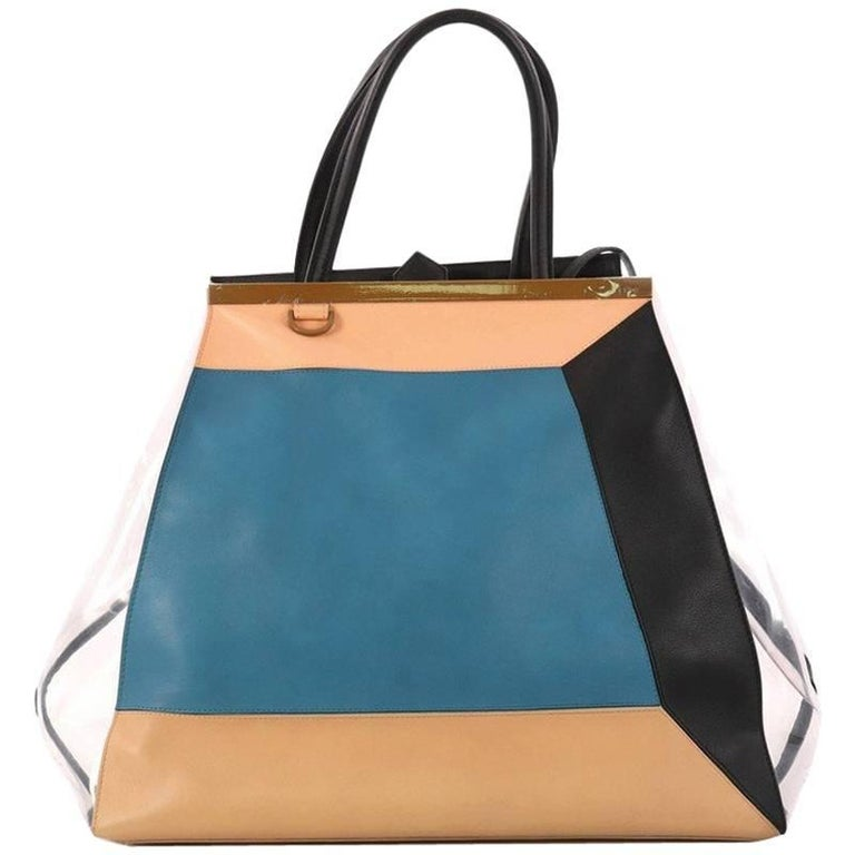 Fendi Color Block 2Jours Handbag Leather and PVC Large For Sale at ...