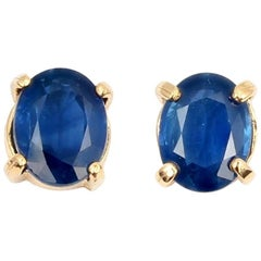 Unique 3 Carats Sapphire Yellow Gold Stud Earrings