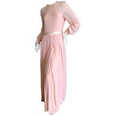 Cardinali 1970's Apricot Silk Chiffon Beaded Evening Dress