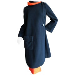 Cardinali 1970 Black Wool Coat with Orange Lining and Matching Skirt