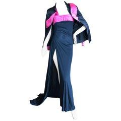 Cardinali 1975 Silk One Shoulder Evening Dress w High Slit and Matching Jacket