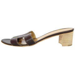 Hermes Brown Leather Oran H Oasis Sandals Sz 38