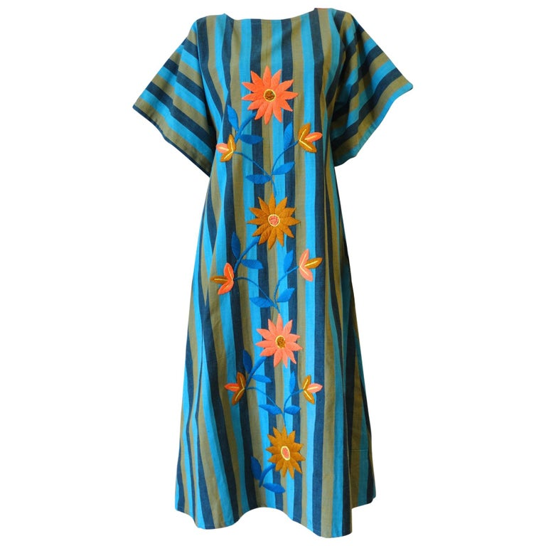 1970s Floral Embroidered Striped Cotton Kaftan  For Sale