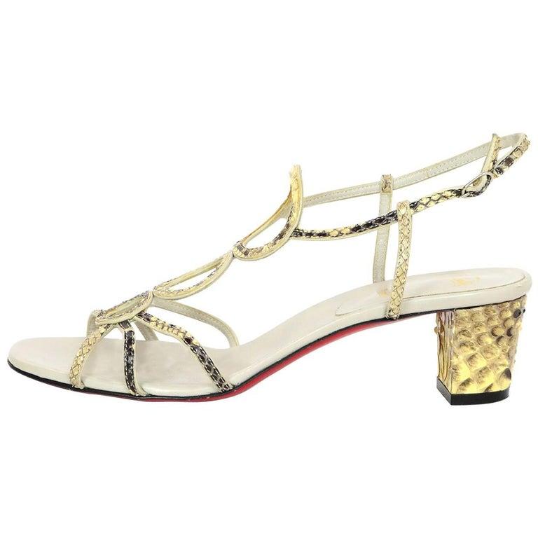 Christian Louboutin Python Troisronds Sandals Sz 38