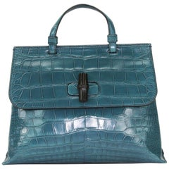 New Gucci Crocodile Bamboo Dusty Turquoise Top Handle Shoulder Strap Medium Bag
