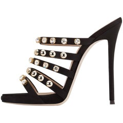 Giuseppe Zanotti Black Gold Stud Satin Crystal  Slide in Mules Sandals Heels