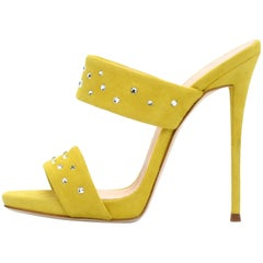 Giuseppe Zanotti Yellow Suede Crystal Slide in Mules Heels Sandals