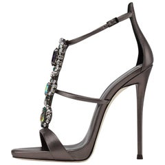 Giuseppe Zanotti Gunmetal Leather Multi Crystal Jewel Evening Sandals Heels