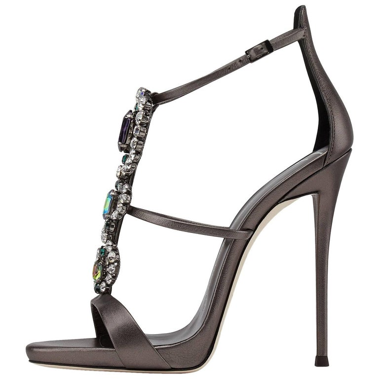 Giuseppe Zanotti Gunmetal Leather Multi Crystal Jewel Evening Sandals Heels