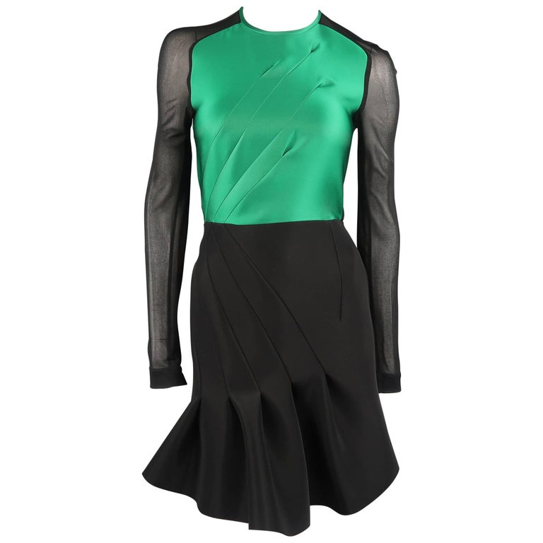 ANTONIO BERARDI Size S Black & Green Neoprene Sheer Long Sleeve Dress