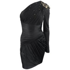 ZUHAIR MURAD Size 2 Black Draped Rhinestone Shoulder One Sleeve Cocktail Dress