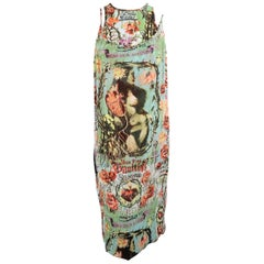 Jean Paul Gaultier Frida Kahlo Print Chiffon Layer Dress, Spring 1998 Runway