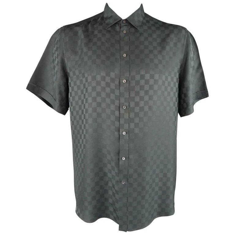 73266095 Louis Vuitton Charcoal Damier Checkered Silk Short Sleeve Shirt For Sale