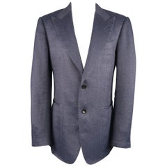 Tom Ford Navy Linen / Silk Sport Peak Lapel Patch Pocket Coat Jacket