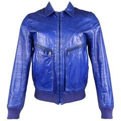 Dior Homme Mens Blue Metallic Leather Bomber Jacket Coat, Spring 2009 Runway