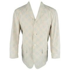 Issey Miyake Vintage Beige Reverse Argyle Cotton Pocket Sport Coat Jacket