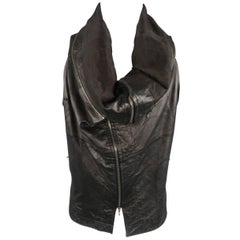 Ma Julius Black Lamb Skin Leather Draped Collar Vest