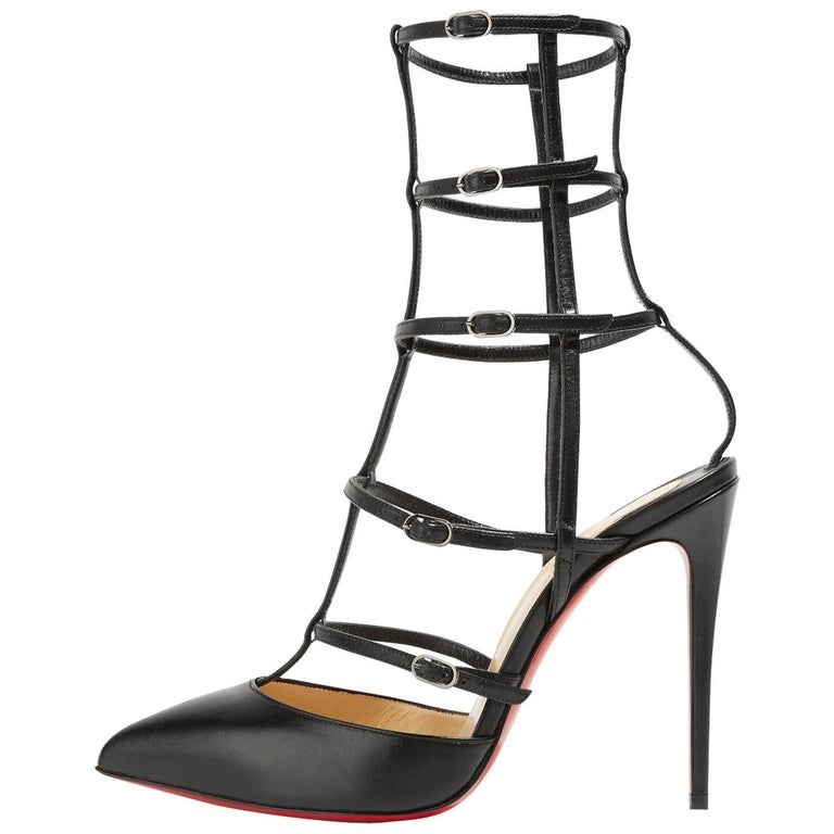 Christian Louboutin Black Leather Cage Evening Sandals Heels Pumps in Box