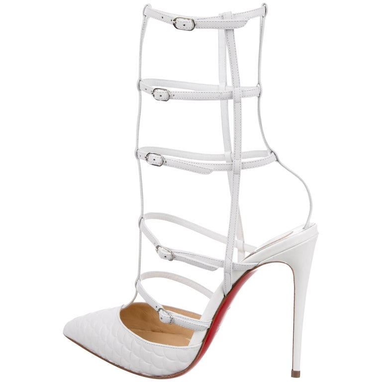 Christian Louboutin White Leather Cage Evening Sandals Heels Pumps
