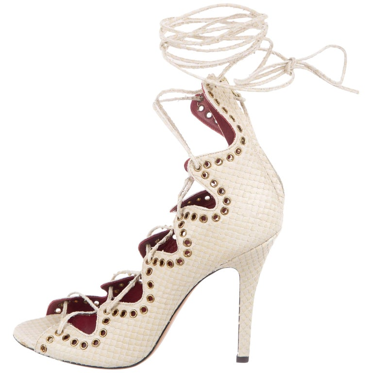 b5eb15c27f0 Isabel Marant Cream Snake Leather Strappy Lace Up Open Toe Sandals Heels  For Sale