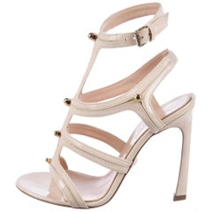 Giambattista Valli Cream Patent Leather Gold Stud Evening Sandals Heels