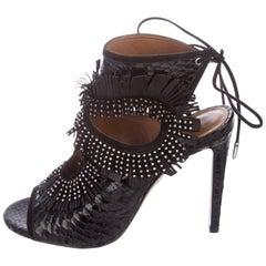 Aquazzura Black Snakeskin Leather Silver Stud Fringe Evening Sandals Heels