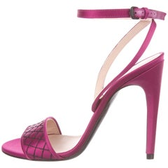 Bottega Veneta Fuchsia Black Whipstitch Satin Evening Sandals Heels