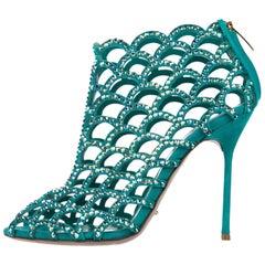 Sergio Rossi Turquoise Suede Crystal Evening Booties Heels