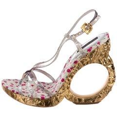 Louis Vuitton Gold Leather Baroque Ornate Runway Sandals Heels