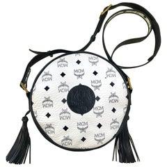 Vintage MCM navy and white monogram round Suzy Wong shoulder bag. Michael Cromer