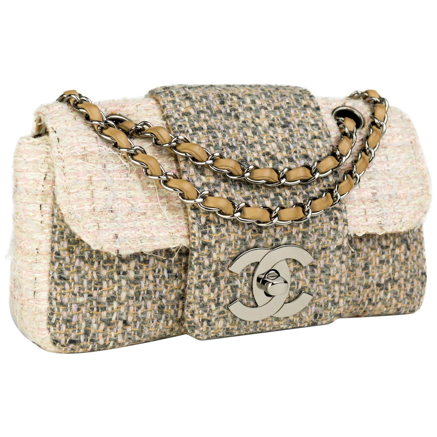 Chanel Small Rare Tweed Cream Beige Classic Flap Bag