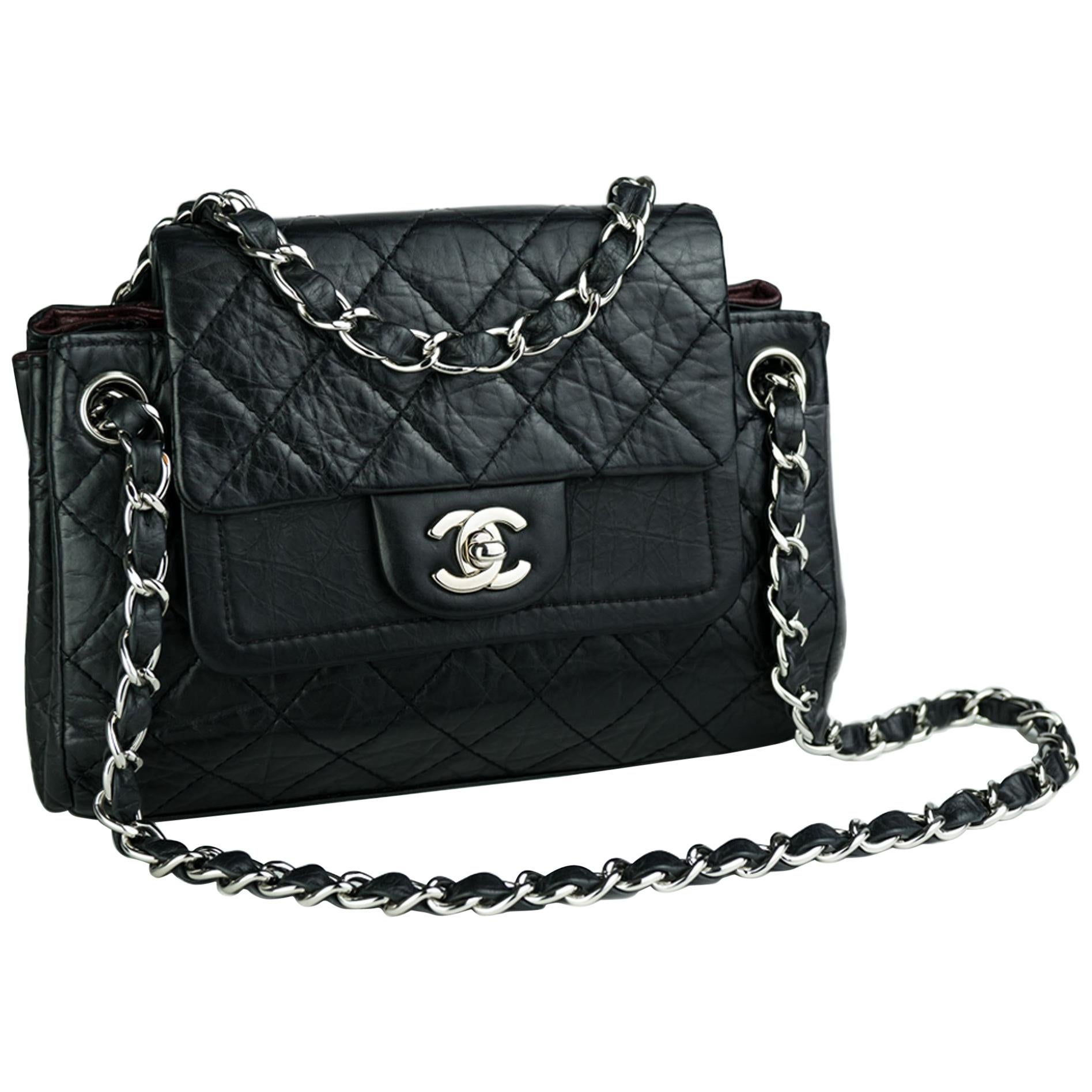 Chanel Limited Edition Distressed Calfskin Classic Double Flap Bag
