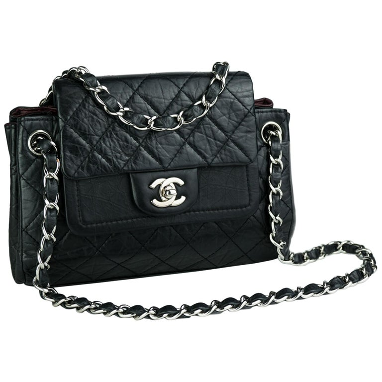 Chanel Limited Edition Distressed Calfskin Classic Double Flap Bag For Sale