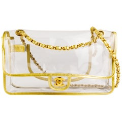 Chanel New Rare Vintage Transparent Clear Naked Gold Classic Medium Flap Bag