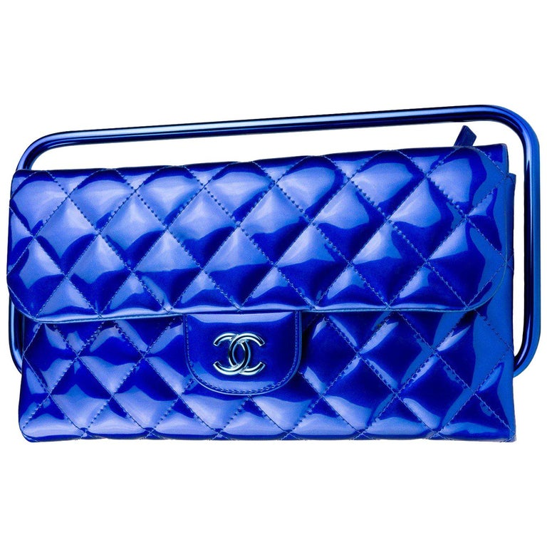 Chanel Electric Blue Patent Leather Quilted Runway Clutch For Sale
