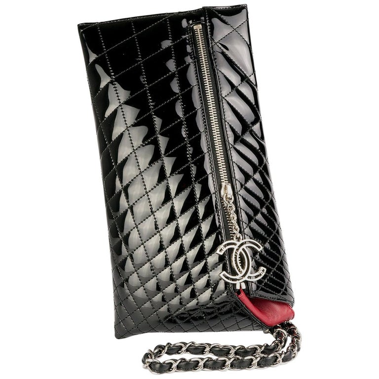 Chanel Patent Long Zip Quilted Gala Clutch