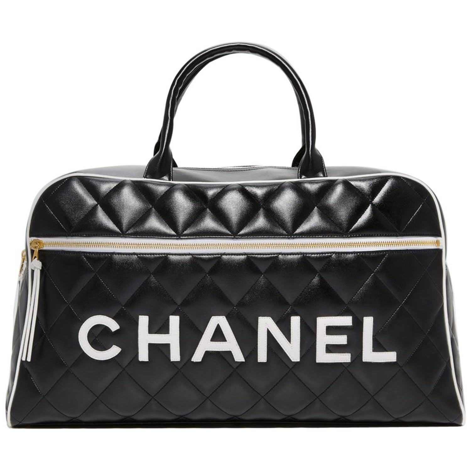 07bbce013be2 Chanel Logo Letters Vintage Rare 1990's Quited Duffel Bag Travel Tote For  Sale at 1stdibs