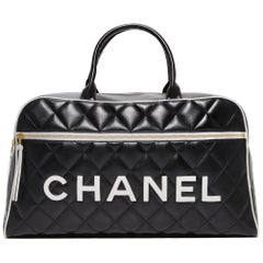 Chanel Logo Letters Vintage Rare 1990's Quited Duffel Bag Travel Tote