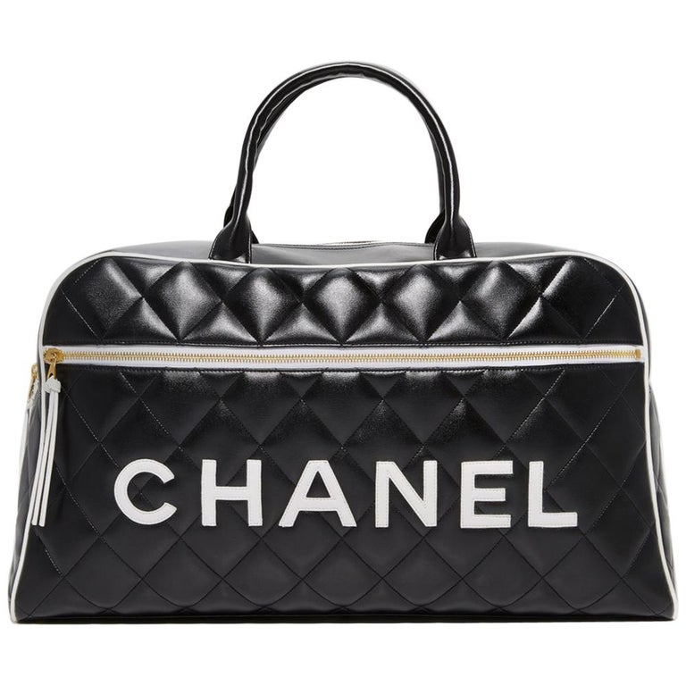 5df2eb0eabc4 Chanel Logo Letters Vintage Rare 1990's Quited Duffel Bag Travel Tote For  Sale