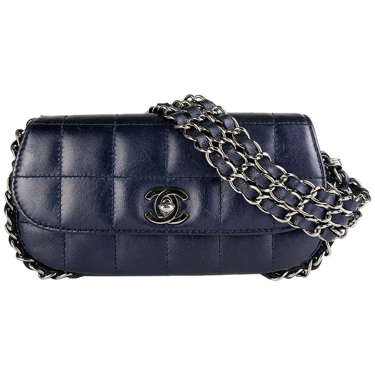 Chanel Chain Around Mini Dark Blue Clutch Mini Classic Flap