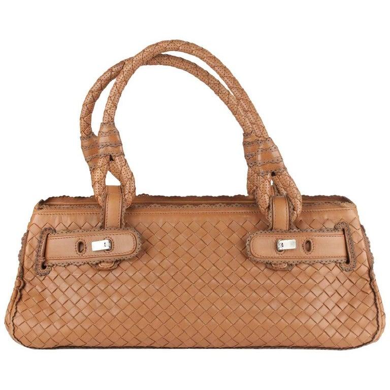 Bottega Veneta Tan Intrecciato Woven Leather Bag w/ Scalloped Trim