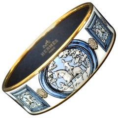 Hermès Vintage Enamel Bracelet Wedwood Ledoux 1974 Gold HDW Size 65 SO RARE
