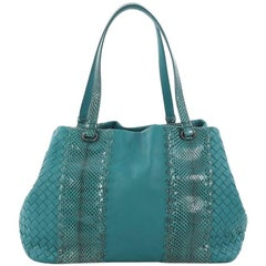 Bottega Veneta A-Shape Tote Intrecciato Nappa with Python Detail Medium