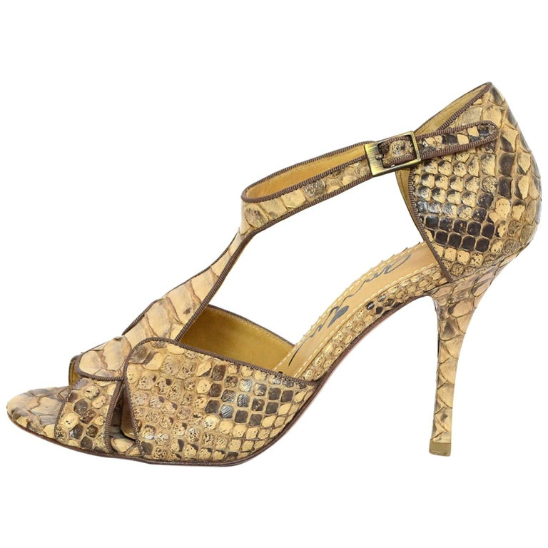 Lanvin Tan Python T-Strap Sandals Sz 38 For Sale