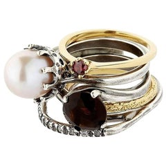 Puro Iosselliani Silver and Gold Classic Set of 5 Rings