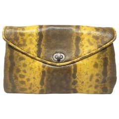 Bottega Veneta Mustard Yellow Lizard Clutch